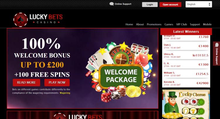 Lucky Bets homepage image