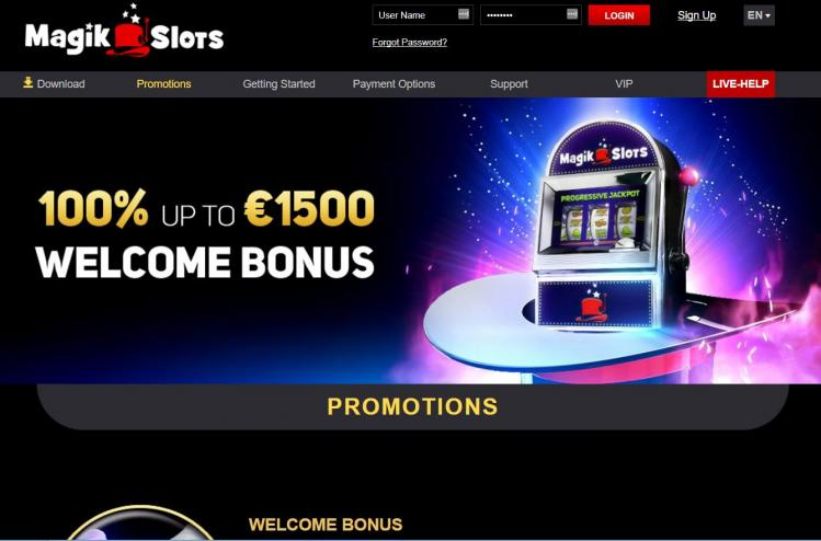 Magik Slots homepage image