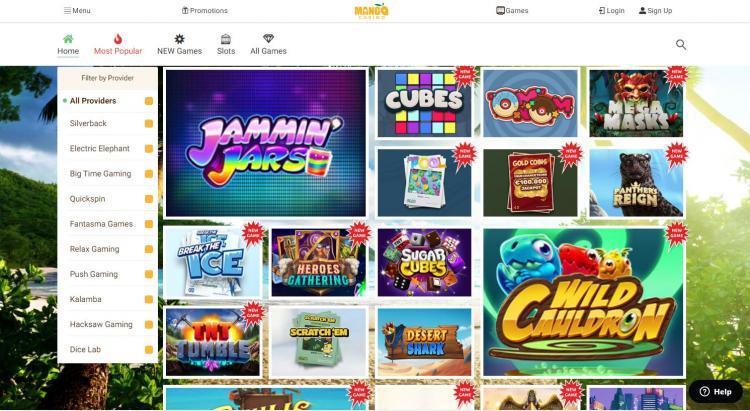 Mango Casino homepage image