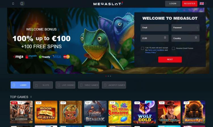 Megaslot homepage image