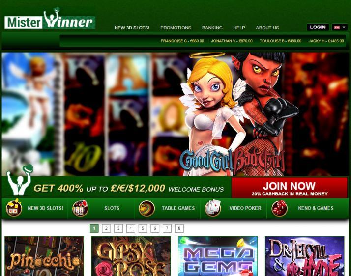 Mister Winner homepage image