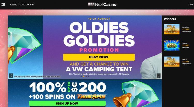 Next Casino homepage image