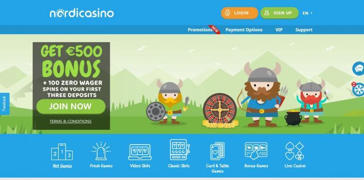 NordiCasino homepage image