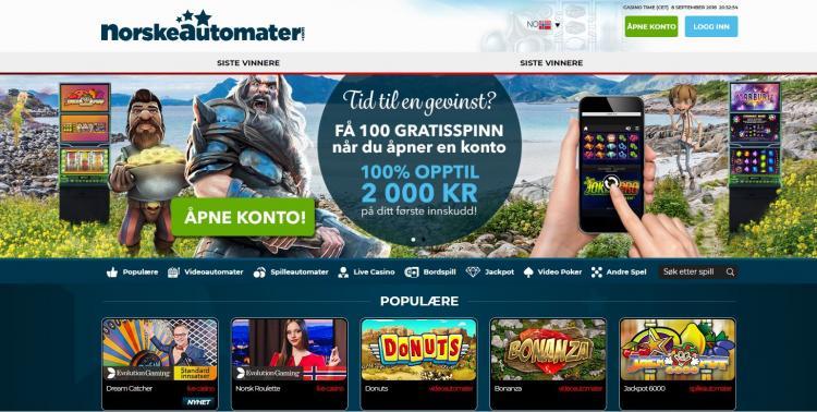 Norske Casino homepage image