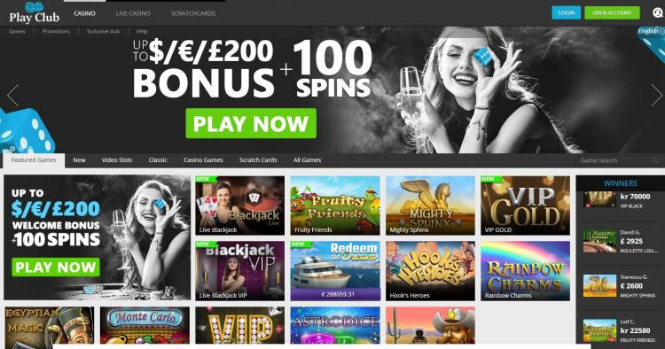 Play Club Casino homepage image