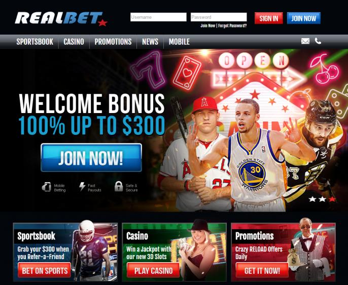 Real Bet homepage image