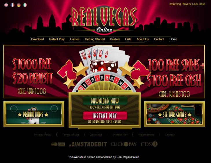 Real Vegas Online homepage image