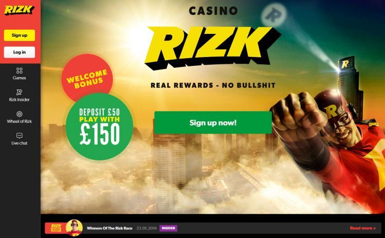 Rizk homepage image