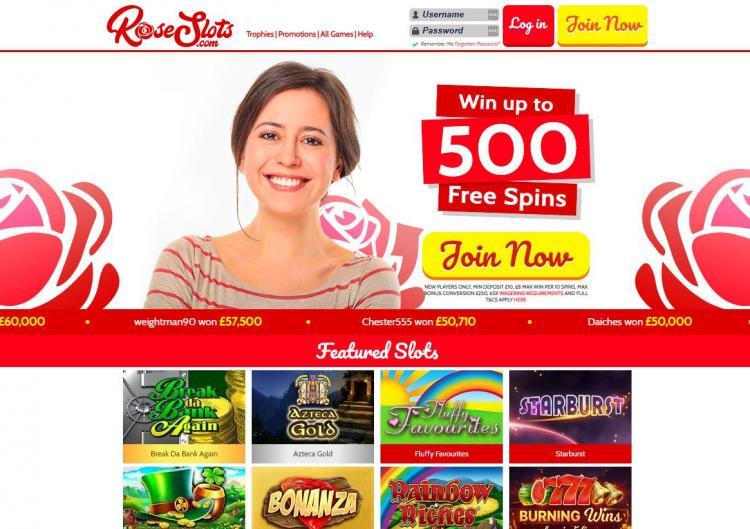 Rose Slots homepage image