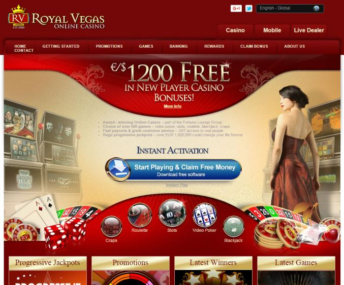 Royal Vegas homepage image