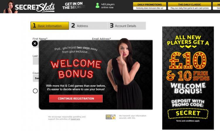 Secret Slots homepage image