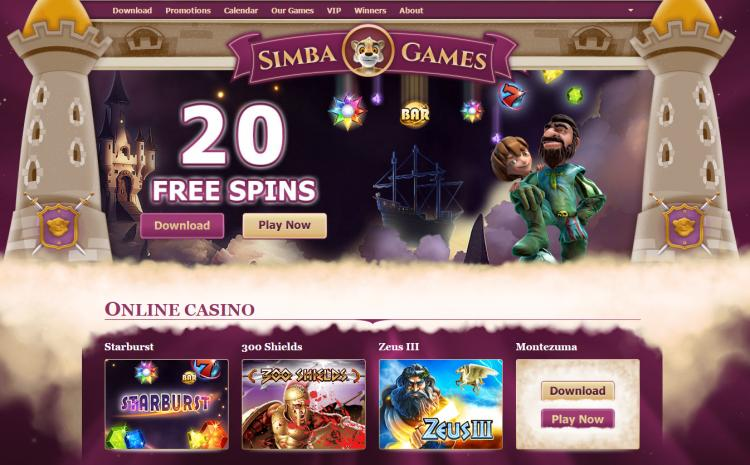 Simba Games homepage image