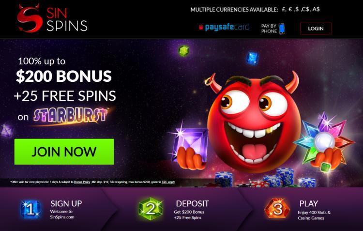 Sin Spins homepage image