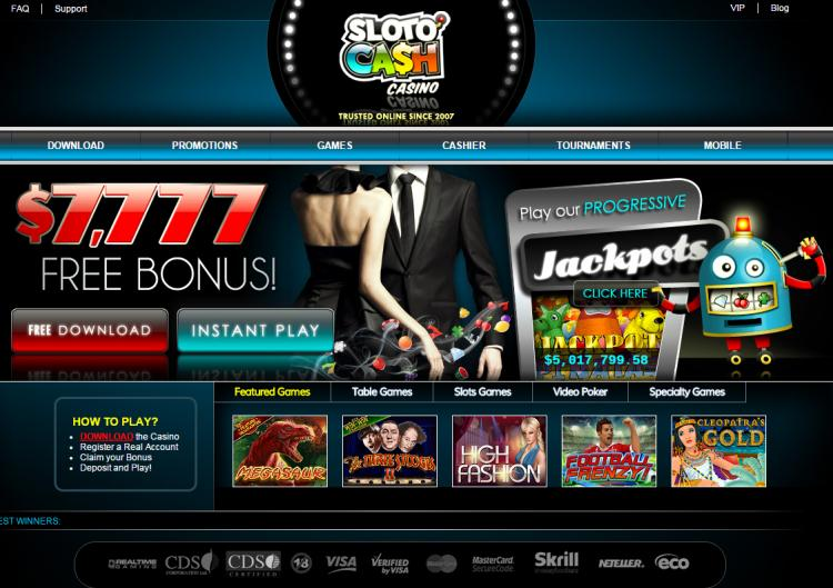 Sloto Cash homepage image