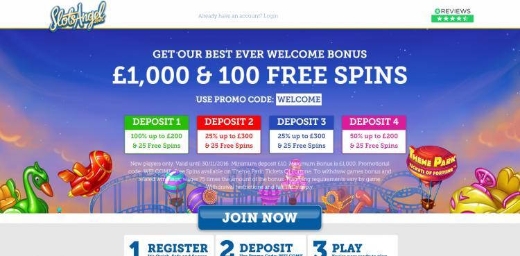 Slots Angel homepage image