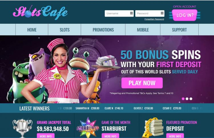 Slots Cafe homepage image