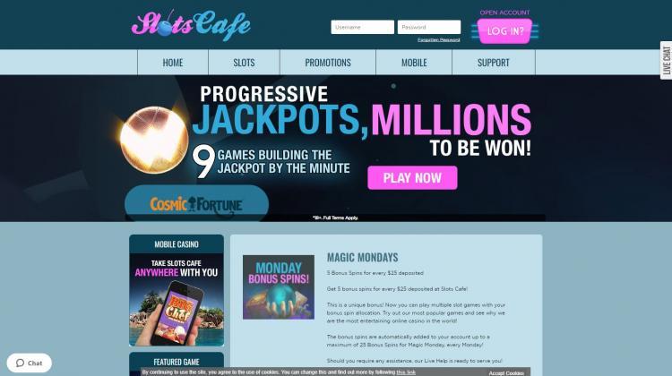 Slots Cafe homepage image
