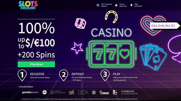 Slots Heaven homepage image