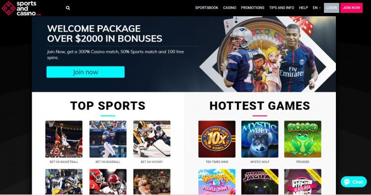 Sports and Casino homepage image