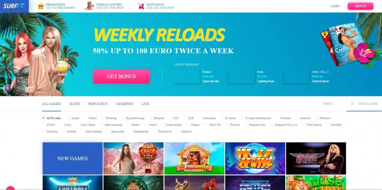 Surf Casino homepage image