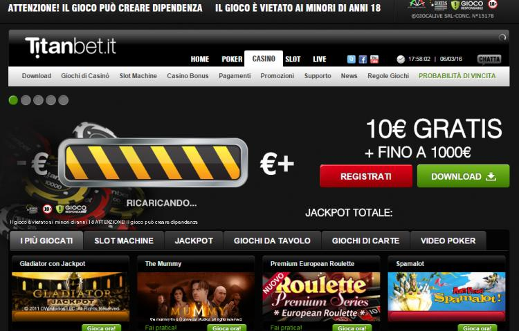 Titanbet.it homepage image