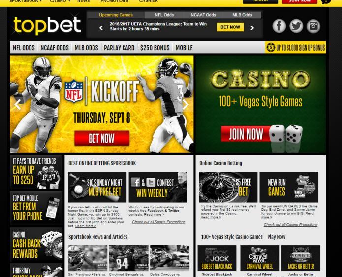 Top Bet homepage image