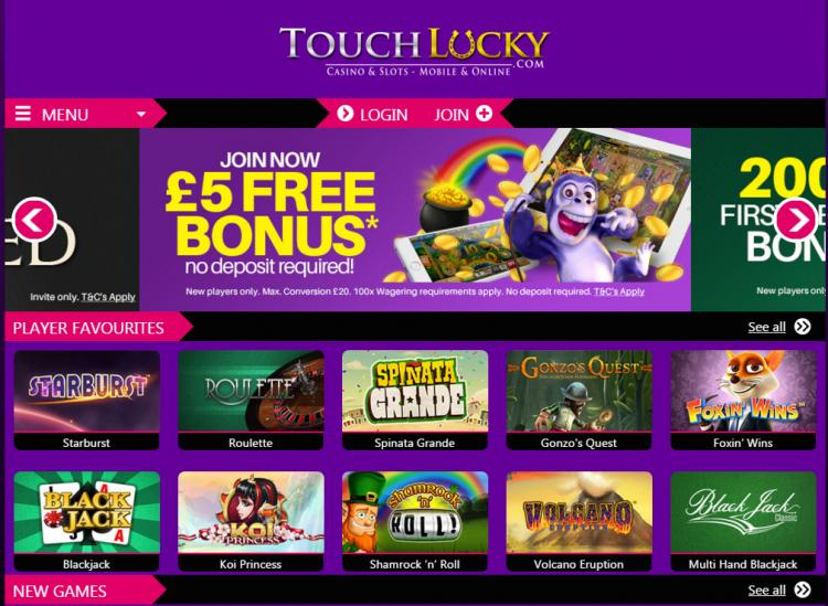 Touch Lucky homepage image