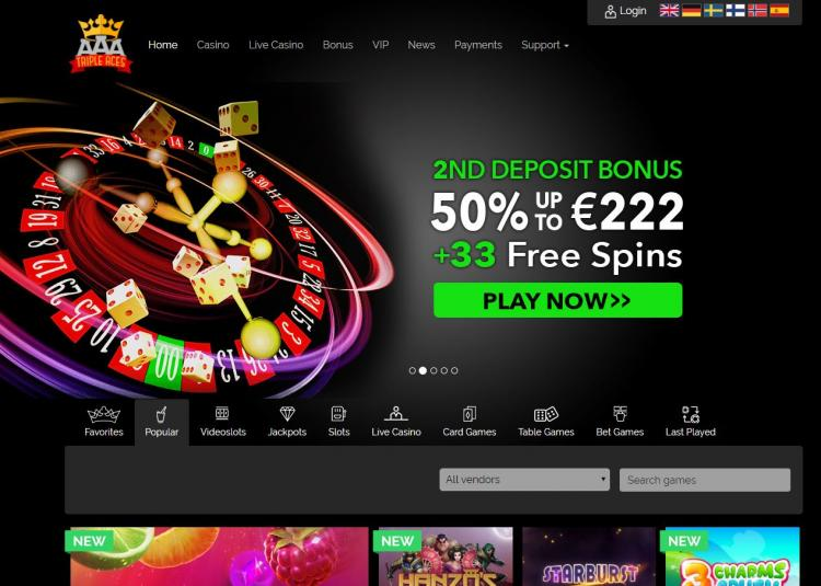 Triple Aces homepage image