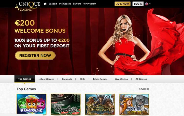 Unique Casino homepage image