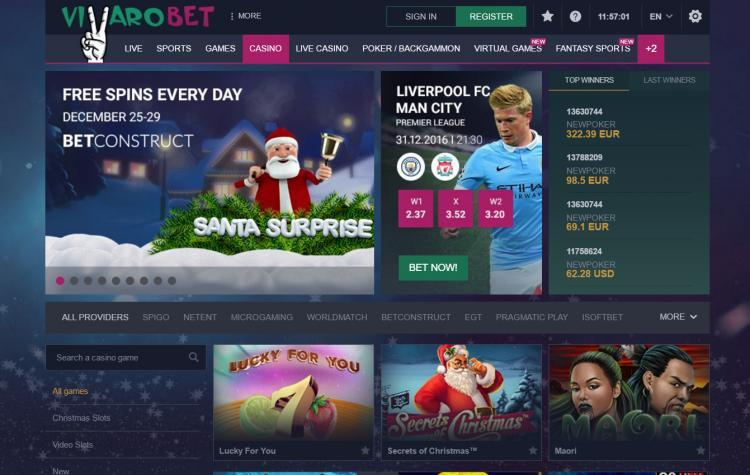 Vbet Casino homepage image