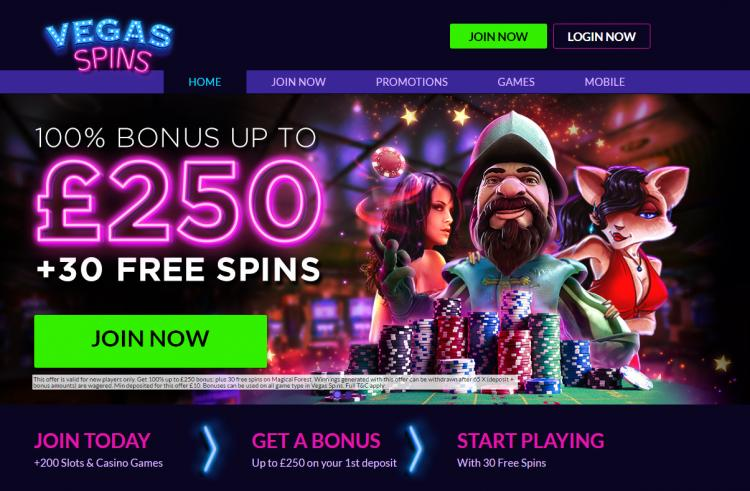 Vegas Spins homepage image