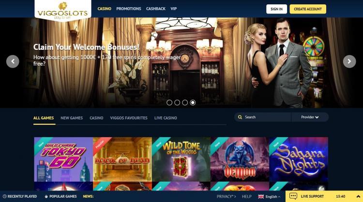 Viggoslots homepage image