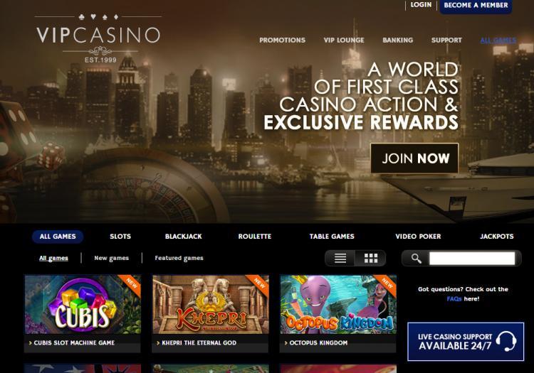 VIP Casino homepage image