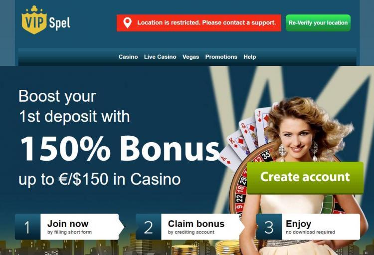 VipSpel homepage image