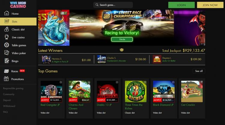 Vive Mon Casino homepage image