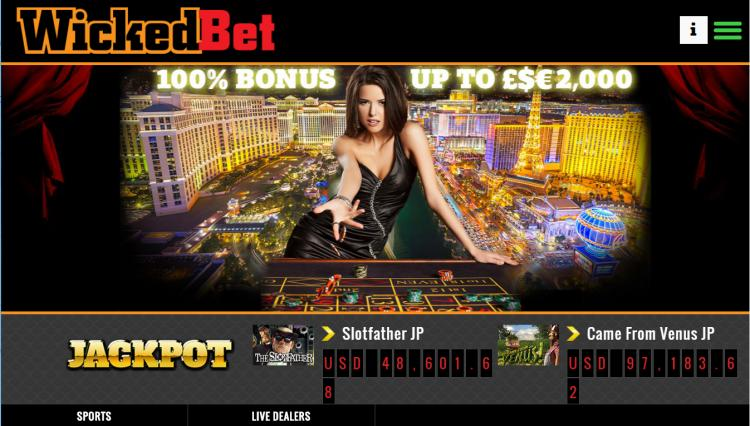 Wicked Bet homepage image