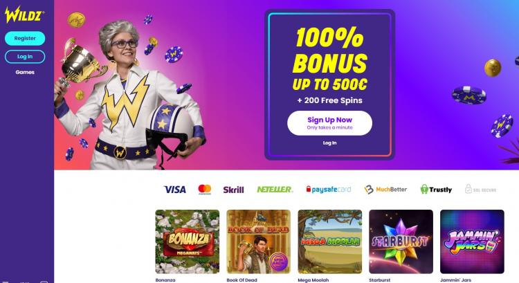 Wildz Casino homepage image