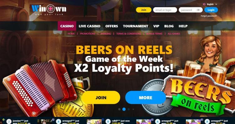 Win Own Casino homepage image