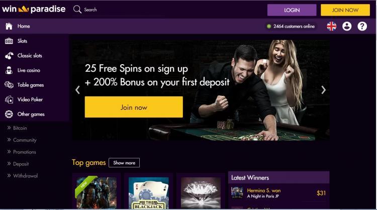Win Paradise homepage image