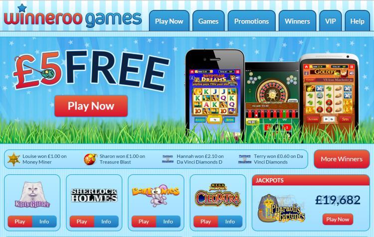 Winneroo Games homepage image