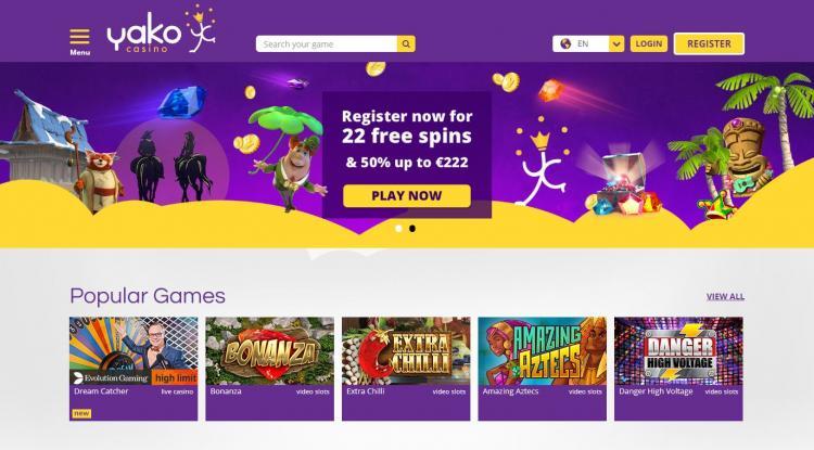 Yako Casino homepage image