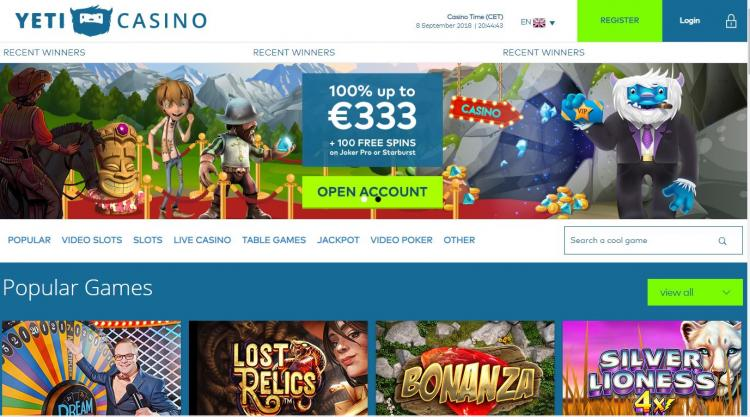 Yeti Casino homepage image