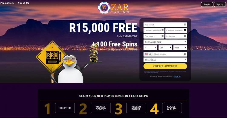 Zar Casino homepage image