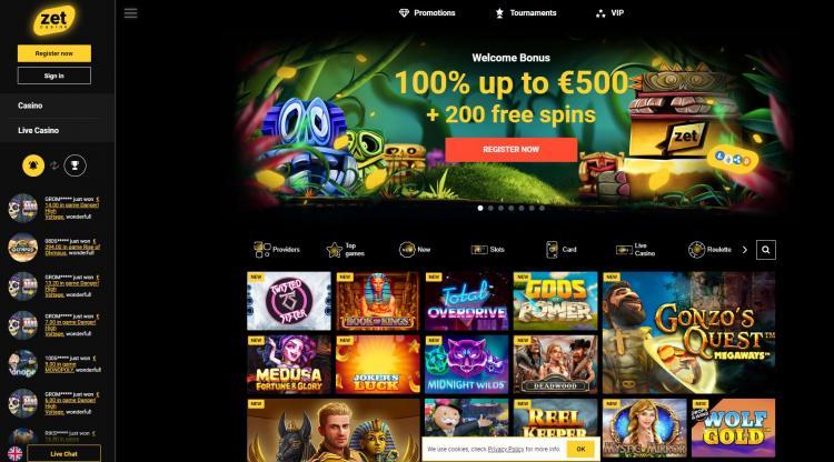Zet Casino homepage image