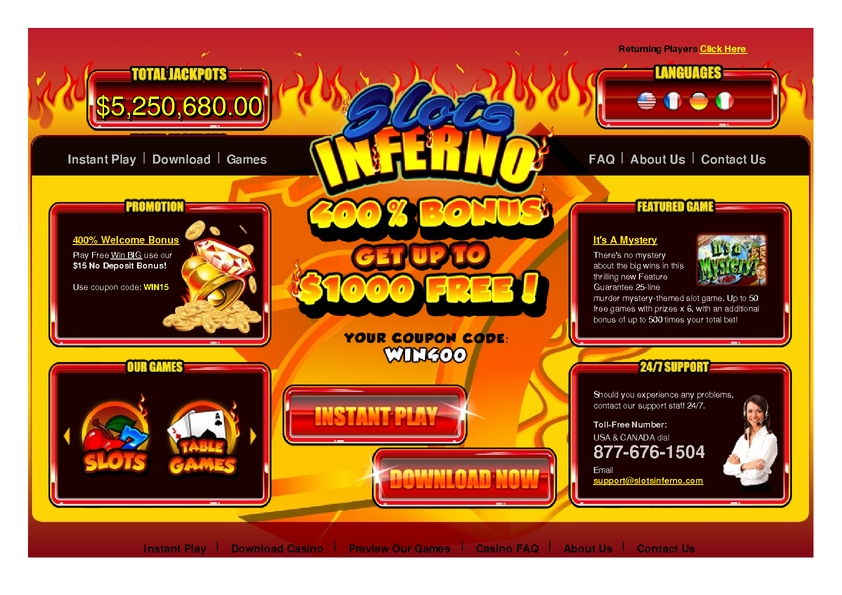Slots inferno bonus codes 2016 catalogue jouets casino 2016