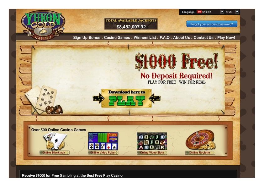 Yukon Gold Casino Member Login