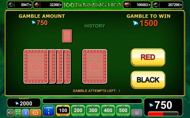 100 Burning Hot :: Gamble Feature Game Board