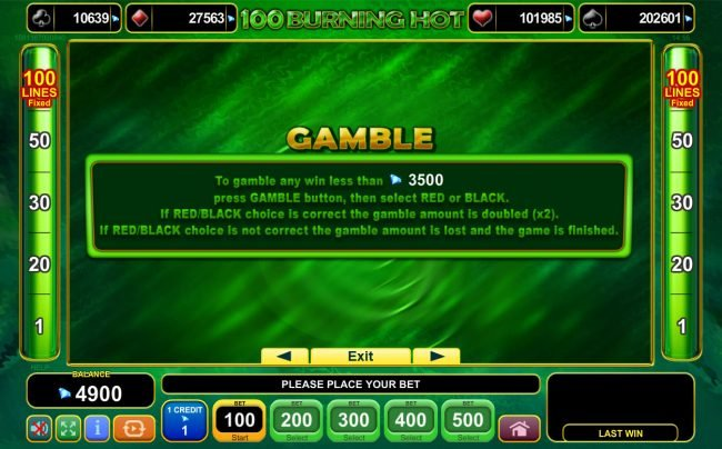 100 Burning Hot :: Gamble Feature Rules