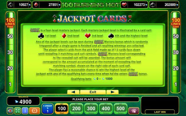 100 Burning Hot :: Jackpot Cards Progressive Rules