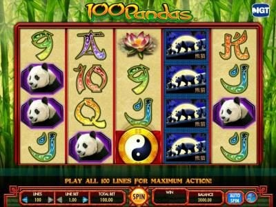 100 Pandas :: Featuring a five reel by four position main game board and 100 paylines.
